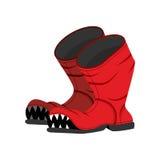 Gebroken laars met tanden Oude schoenen met gat Gevreesde laars royalty-vrije illustratie