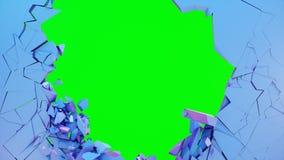 Gebroken muur pastelkleur-viooltje kleur De muur verbrijzelt in duizenden reepjes Samenvatting vernietigde achtergrond Explosie royalty-vrije illustratie