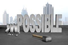 Gebroken onmogelijk 3D concreet woord met voorhamer Stock Afbeelding