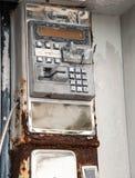 Gebroken Publieke telefooncel Stock Foto's