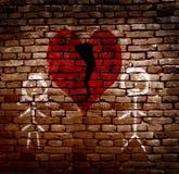 Gebroken rood hart stock fotografie