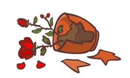 Gebroken rood nam ter plaatse toe pot Vector Illustratie
