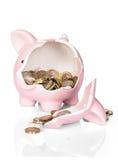 Gebroken spaarvarken met geld Royalty-vrije Stock Foto's