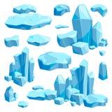Gebroken stukken van ijs De vectorillustraties van het spelontwerp in beeldverhaalstijl vector illustratie