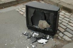 Gebroken televisie stock foto
