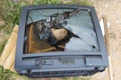 Gebroken TV stock afbeelding