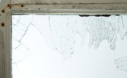Gebroken vensterglas stock foto