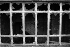 Gebroken venstersdetails Stock Foto's