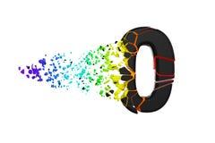 Gebroken verbrijzeld iriserend alfabet nummer 0 Verpletterde zwarte en regenboogdoopvont 3d geef op witte achtergrond geïsoleerd? royalty-vrije illustratie