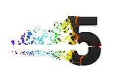 Gebroken verbrijzeld iriserend alfabet nummer 5 Verpletterde zwarte en regenboogdoopvont 3d geef op witte achtergrond geïsoleerd? vector illustratie