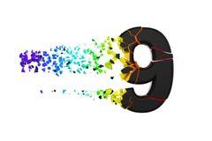 Gebroken verbrijzeld iriserend alfabet nummer 9 Verpletterde zwarte en regenboogdoopvont 3d geef op witte achtergrond geïsoleerd? stock illustratie