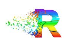 Gebroken verbrijzelde iriserende alfabetbrief R in hoofdletters Verpletterde regenboogdoopvont 3d geef op witte achtergrond geïso stock illustratie