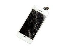Gebroken vertoning van mobiele telefoon Stock Foto