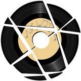 Gebroken vinylVerslag met muzieketiket Stock Foto's