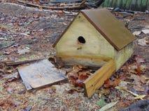 Gebroken Vogelhuis tegen de Dode Bladeren Royalty-vrije Stock Fotografie