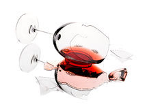 Gebroken wijnglas Stock Foto's