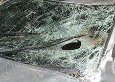 Gebroken windscherm in autoongeval Stock Foto's