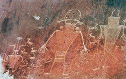 Gebürtiges Indianer-Fremont-Petroglyphe-Hauptriff-Nationalpark Stockbilder