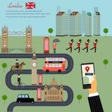 Gebruik de kaart op slimme telefoon in de stadskapitaal van Londen van Engeland Gr. Stock Foto's