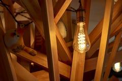 Gebruiken de Weergeven houten textuur met lamp en vogel en achtergrondpatroon en het abstracte binnenlandse ontwerp ruimte stock foto's