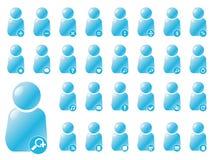 Gebruiker 2.0 stijl met aquapictogrammen Stock Foto's