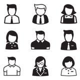 Gebruiker, rekening, personeel, de pictogrammen vectorillustratie Sym van het werknemersmeisje Royalty-vrije Stock Foto's