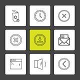gebruikersinterface, knopen, toepassing, multimedia, eps pictogrammen stock illustratie