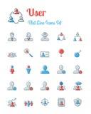Gebruikerspictogrammen geplaatst vlakke lijnstijl Royalty-vrije Stock Foto