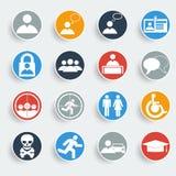 Gebruikerspictogrammen op grijze knopen Stock Afbeelding