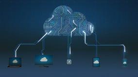 Gebruiks slim horloge, Toegangswolk de animatie van de gegevensverwerkingsdienst, Toepassing in wolk (inbegrepen Alpha-) vector illustratie