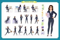Gebruiksklaar damekarakter - reeks Jonge bedrijfsvrouw in formele slijtage Verschillend stelt en emoties stock illustratie