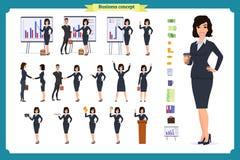 Gebruiksklaar karakter - reeks Jonge bedrijfsvrouw in formele slijtage Verschillend stelt en emoties royalty-vrije illustratie