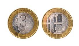 Gebruikt herdenkingsverjaardags bimetaal 3 euro â '¬ Slovenië muntstuk Stock Fotografie