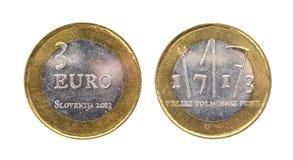 Gebruikt herdenkingsverjaardags bimetaal 3 euro â '¬ Slovenië muntstuk Royalty-vrije Stock Foto