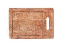 Gebruikt houten geïsoleerd hakbord stock fotografie