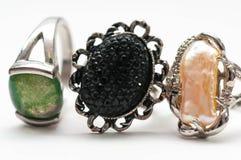Gebruikt, oud juwelen dicht omhoog macroschot royalty-vrije stock afbeeldingen