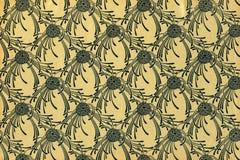 Gebruikt uitstekend bloemenbehang Stock Foto's