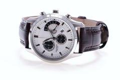 Gebruikt zilveren horloge met leerhorlogebandje. Royalty-vrije Stock Afbeelding