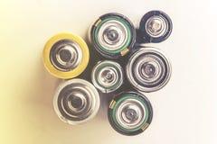 Gebruikte batterijen Stock Afbeelding