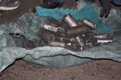 Gebruikte in brand gestoken Bom en kogels Egyptische revolutie Royalty-vrije Stock Foto