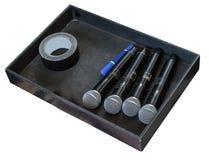 Gebruikte draadloze microfoons in de zwarte doos Royalty-vrije Stock Afbeeldingen