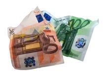 Gebruikte eur bankbiljetten stock foto