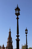 Gebäude auf Famous Plaza de Espana - spanisches Quadrat in Sevilla, Andalusien, Spanien Stockfotografie
