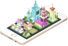 Gebäude- und Stadtbildarchitektur an auf einem mobilen Schirm des intelligenten Telefons mit Netztechnik-Anwendungskonzept Stockfotografie