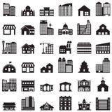 Gebäudeikonen eingestellt Stockbilder