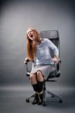 Gebundene oben Geschäftsfrau Shouting für Hilfe Stockfotografie