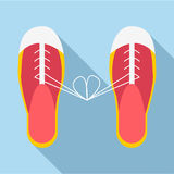 Gebundene Spitzee auf Schuhikone, flache Art Stockbild