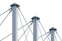 Gebundene Suspendierungs-Dach-Kabel, drei großes Grey Isolated Masts Lizenzfreie Stockbilder