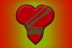 Gebundenes rotes Herz mit Seil Lizenzfreie Stockfotos