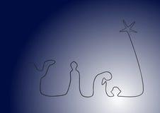 Geburt Christi auf Blau mit glühendem Schätzchen Stockfotografie
